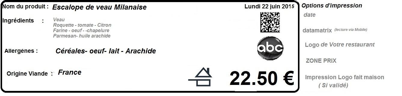 Exemple d'étiquette pour nourriture