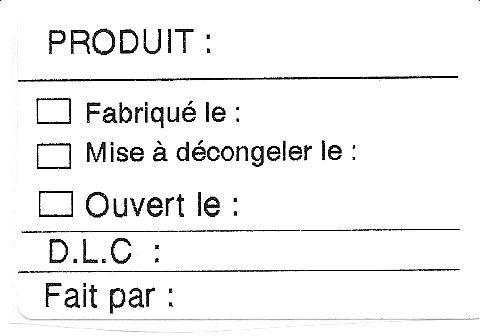 Étiquette pour produit